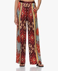 forte_forte Silk Satin Printed Wide-leg Pants Sunstone