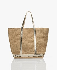 Vanessa Bruno Large Raffia Shopper - Naturel/Licht Gold