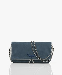 Zadig & Voltaire Rock Suede Leather Shoulder Bag/Clutch - Blue
