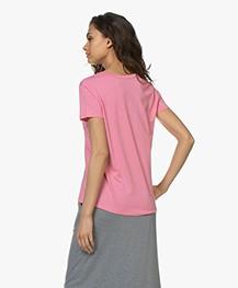 Repeat Lyocell V-hals T-shirt - Roze