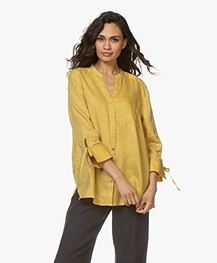 Repeat Linen Blouse with Tie Cuffs - Mais