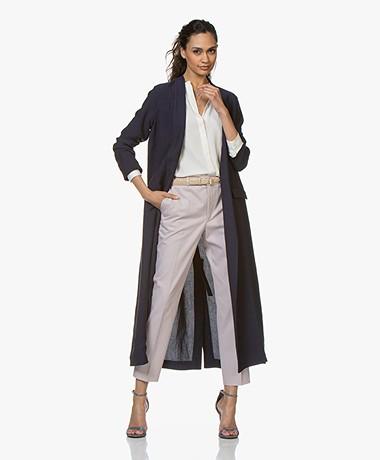 Pomandère Long Linen Blend Blazer Coat - Dark Blue