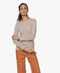 Petit Bateau Lurex Striped Linen Blend Long Sleeve - Marshmallow/Copper