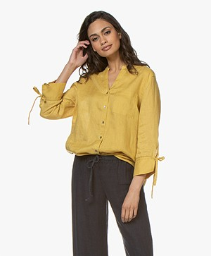 Repeat Linnen Blouse met Strikmanchetten - Mais