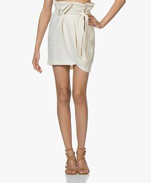 IRO Taolia Paperbag Skirt in Linen and Silk - Ecru
