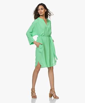Repeat Viscose Crepe Shirt Dress - Grass