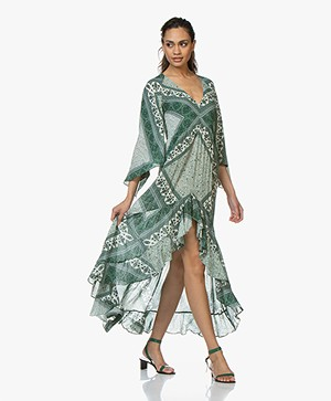 ba&sh Usso Viscose Paisley Print Dress - Emerald Green
