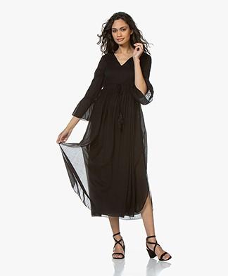 BRAEZ Voile Midi Dress with Pleats - Black