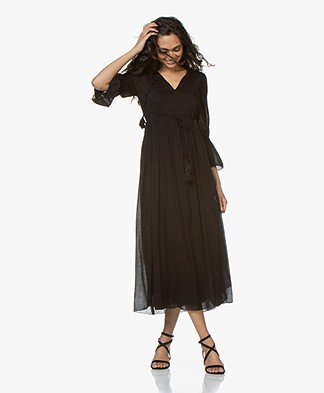 BRAEZ Voile Midi Dress with Pleats - Black