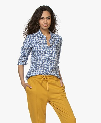 Belluna Pitch Linen Floral Printed Blouse - Blue