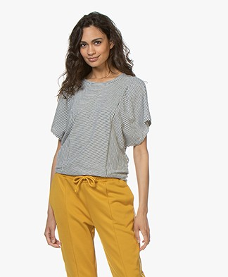 Closed Striped Butterfly Sleeve T-shirt - Blanched Almond