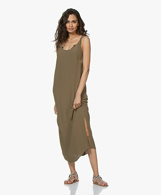 ba&sh Yoyo Viscose Crepe Midi Dress - Khaki