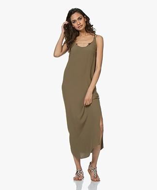 ba&sh Yoyo Viscose Crepe Midi Dress - Khaki
