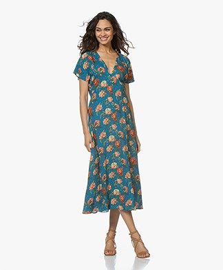 Drykorn Briana Floral Printed A-line Dress - Petrol Blue