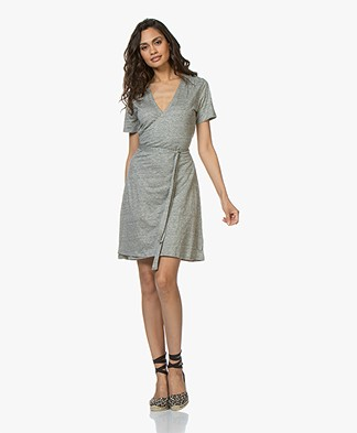 Majestic Filatures Linen Slub Jersey Wrap Dress - Granit