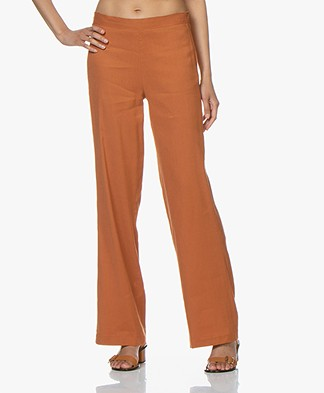 Woman by Earn Tine Linnenmix Broek - Burnt Orange
