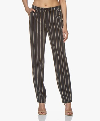 Woman by Earn Marli Fancy Gestreepte Pantalon - Navy/Beige
