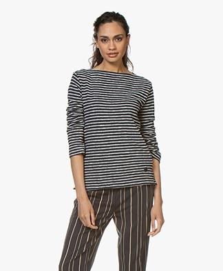 By Malene Birger Striped Boat Neck T-shirt - Night Sky