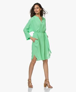 Repeat Viscose Crepe Shirt Dress - Grass