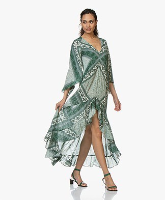 ba&sh Usso Viscose Paisley Print Dress - Emerald Green
