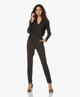 no man's land Travel Jersey Jumpsuit - Blauwzwart