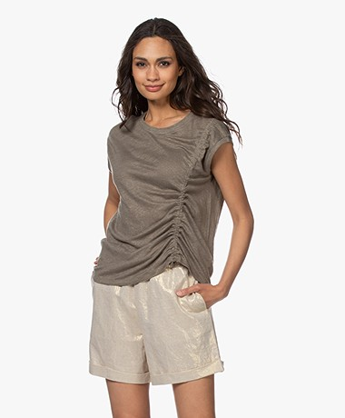 Repeat Linen Draw String T-shirt - Khaki