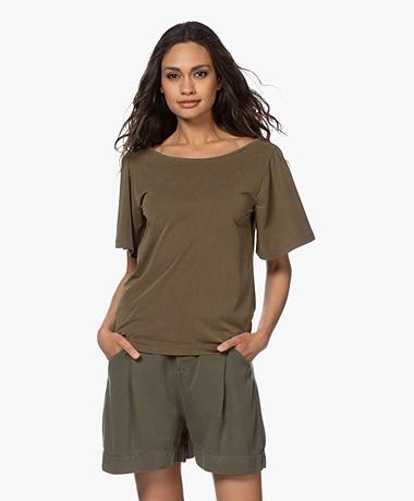 Plein Publique La Vie Modalmix T-shirt met Vlindermouwen - Army