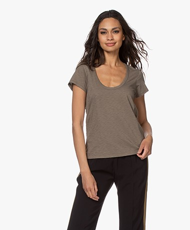 Rag & Bone Katoenen U-hals T-shirt - Grymoss