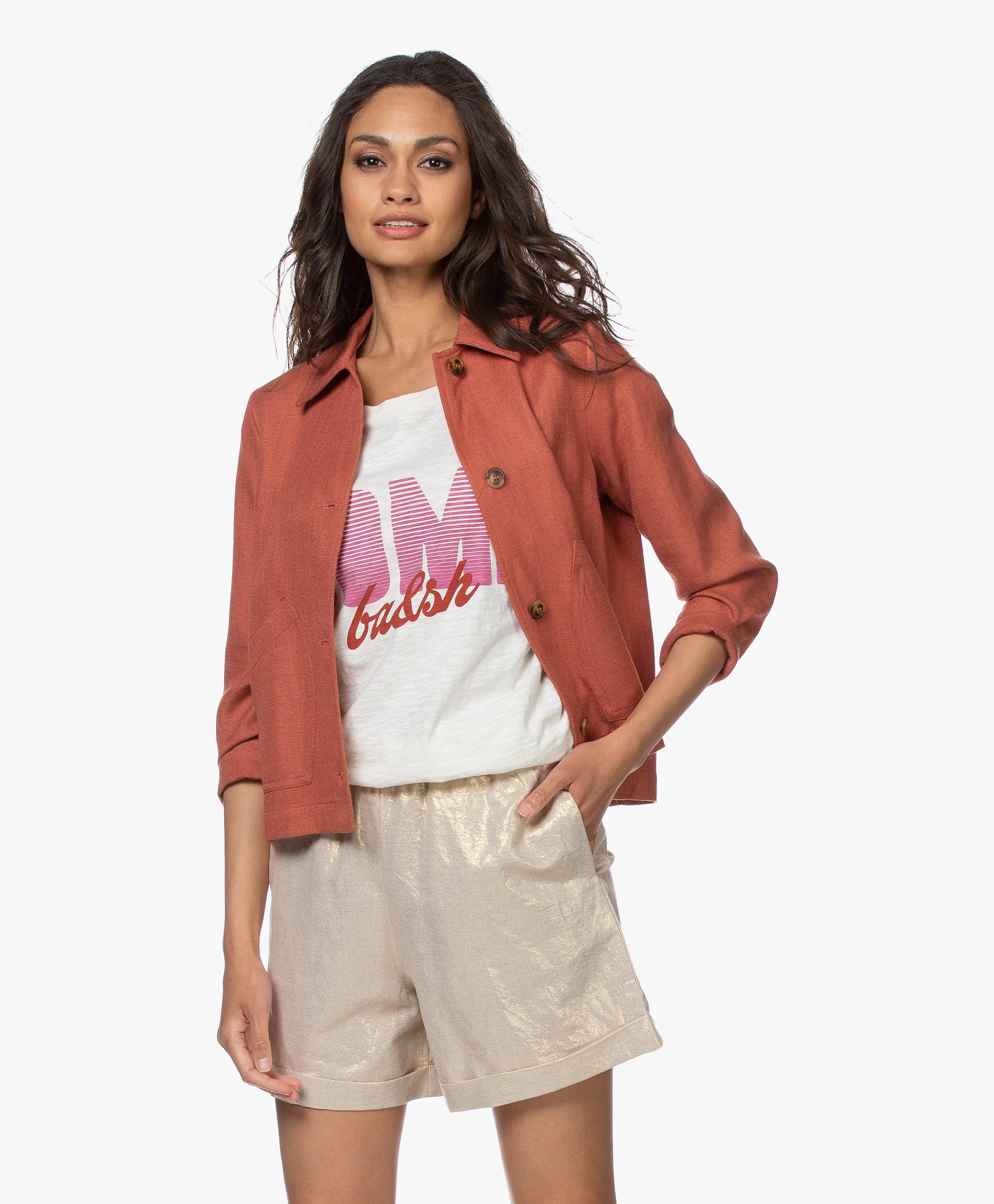 indi & cold Linen Blend Jacket Terracotta v20ah110 408