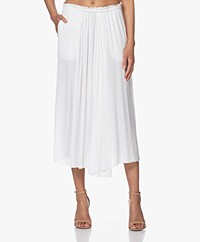 Pomandère Crinkle Viscose Midi Skirt - Milky White