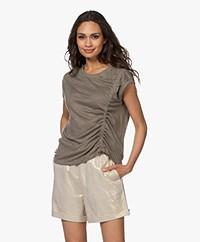 Repeat Linen Draw String T-shirt - Khaki