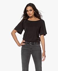 Plein Publique La Vie Modalmix T-shirt met Vlindermouwen - Zwart