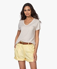 Repeat Lyocell Jersey V-neck T-shirt - Desert