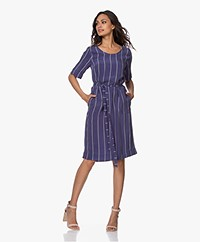 Kyra & Ko Maribel Striped Cupro Dress - Denim