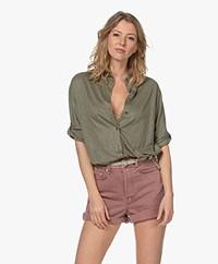 Majestic Filatures Jersey Linen Blend Shirt - Khaki