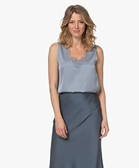 Repeat Silk Blend Top with Lace - Dusty Blue
