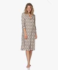 HANRO Favourites Printed Viscose Shirt Dress - Off-white/Beige/Bruin
