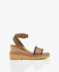 See by Chloé Leather Wedge Sandals - Brown