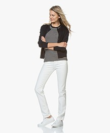Filippa K Fine Rib Striped T-shirt - Navy/Ivory