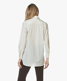 Filippa K Indra Striped Cotton Silk Shirt - Off-white/River