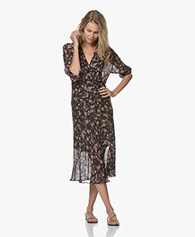 IRO Temper Chiffon Printed Midi Dress - Black