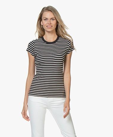 Filippa K Fine Rib Striped T-shirt - Navy/Ivoor