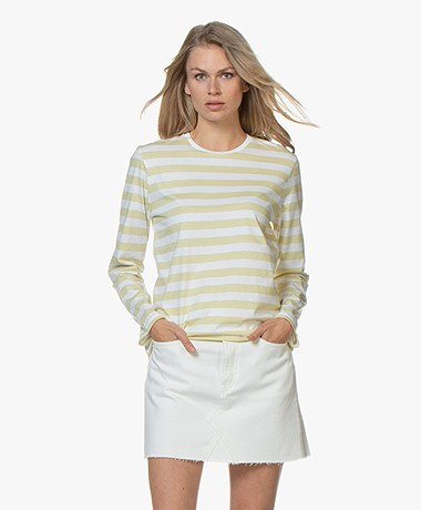 Filippa K Long Sleeve Striped T-shirt - Wax/White