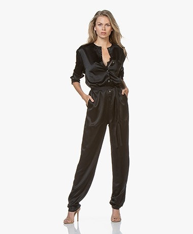 extreme cashmere N°72 All-over Satin Silk Jumpsuit - Black