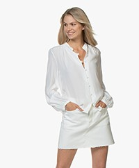 Denham Ellis Cupro Blend Mao Blouse - Off-white