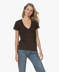 IRO Rodeo Linnen V-hals T-shirt - Zwart