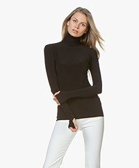 Norma Kamali Slim-fit Turtleneck Long Sleeve - Black