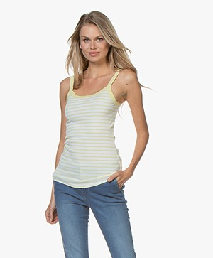 Filippa K Fine Rib Striped Singlet - Wax/White