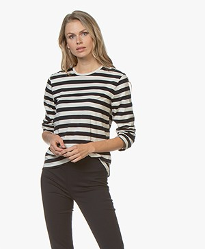 Filippa K Long Sleeve Striped T-shirt - Navy/Ivoor