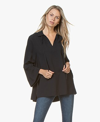 Joseph Fran Silk Tunic Blouse - Navy